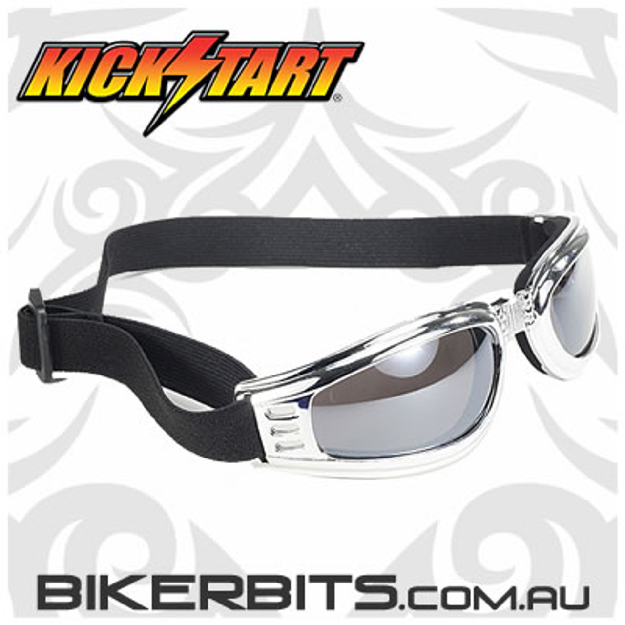 Motorcycle Goggles - Kickstart Nomad - Silver Mirror/Chrome