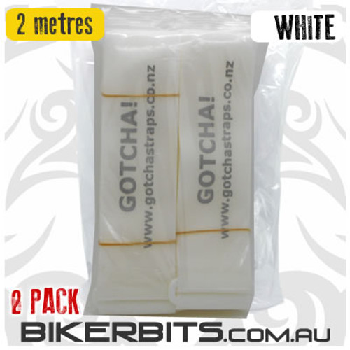 Gotcha Straps - 5cm wide x 2 metre long - 2 Pack - White