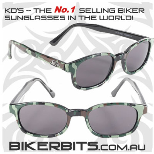 Motorcycle Sunglasses - KD's Camo - Smoke