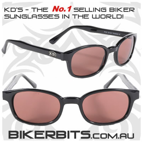 Motorcycle Sunglasses - KD's Black - Rose