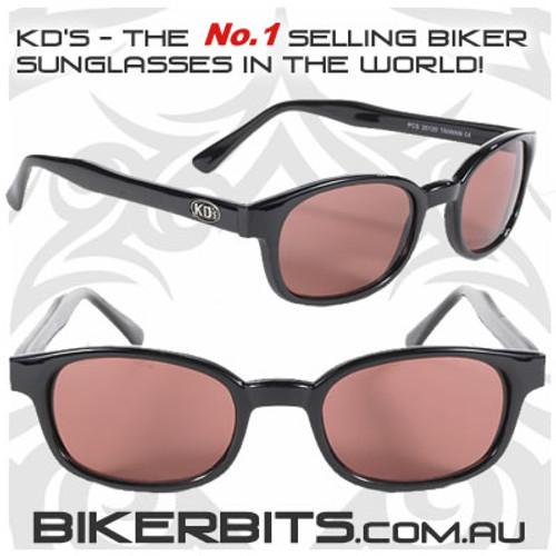 Motorcycle Sunglasses - KD's Black - Rose