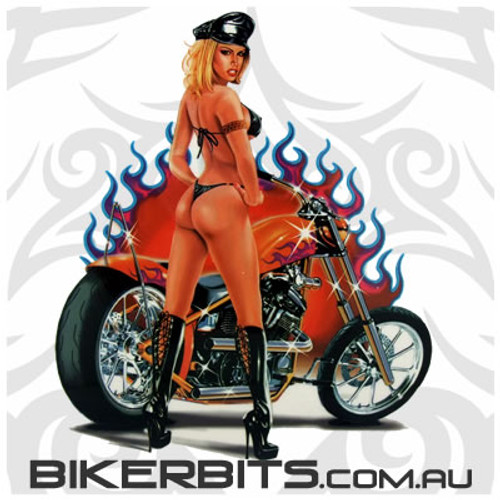Biker Decal - Flaming Biker Chick