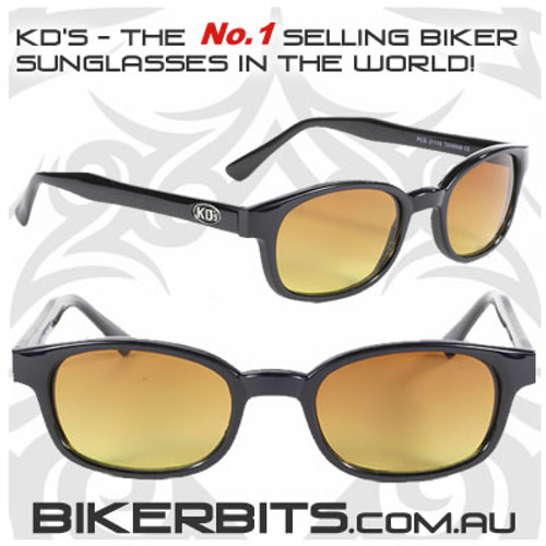 Motorcycle Sunglasses - KD's Black - Blue Buster Amber