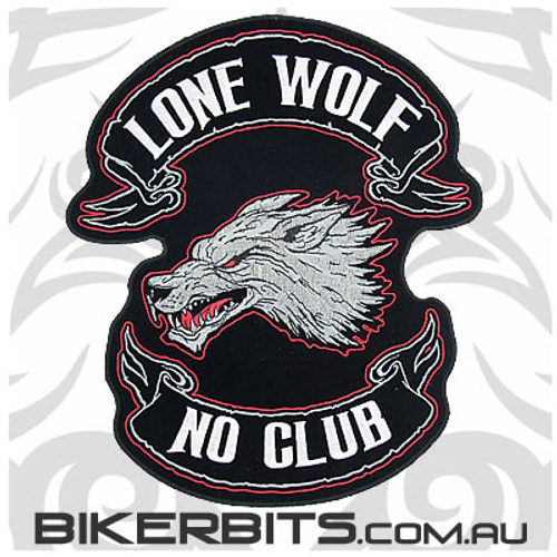 Patch - Silver Lone Wolf - No Club - Large