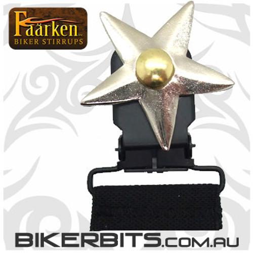 Faarken Biker Stirrups - Vamanos Lone Star Silver
