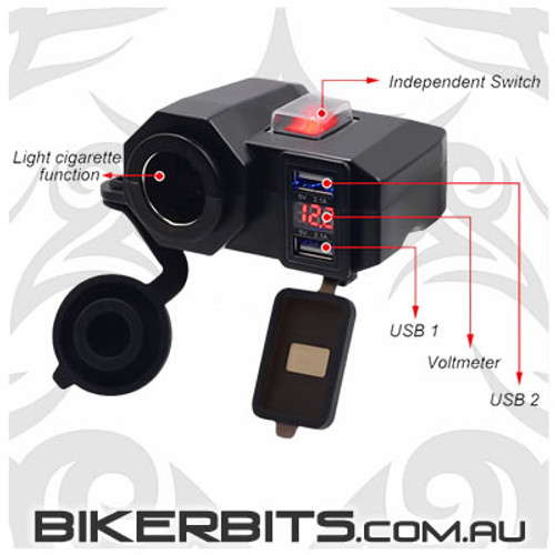 Motorcycle 12 Volt Power Outlet & USB Port with Power Switch