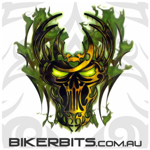 Biker Decal - Toxic Green Skull