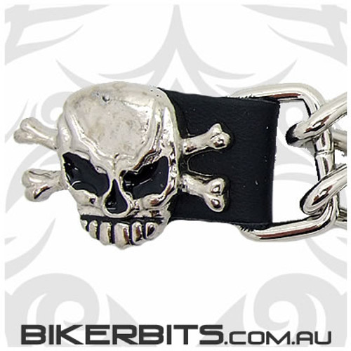 Vest Extender with Chains 6 inch- Skull & Crossbones