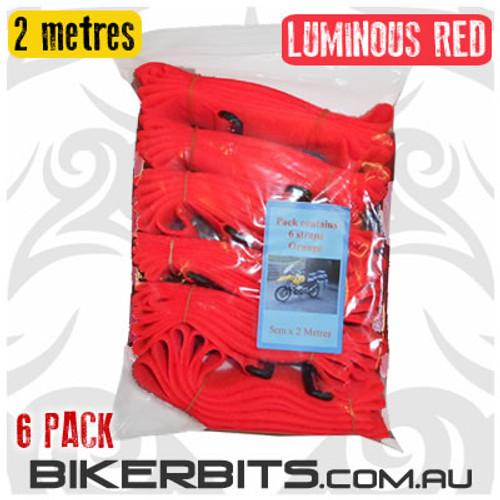 Gotcha Straps - 5cm wide x 2 metre long - 6 Pack - Lum Red - NB