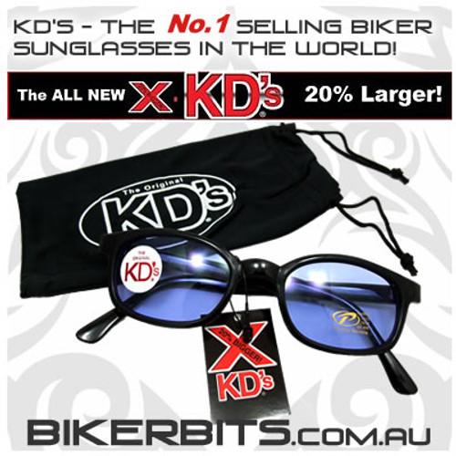 Motorcycle Sunglasses - X KD's Black - Blue