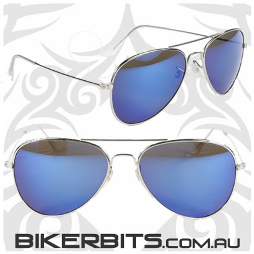 Motorcycle Sunglasses - Aviator - Blue / Silver Mirror