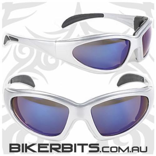 Motorcycle Sunglasses - Chopper - Blue Mirror/Silver Frame