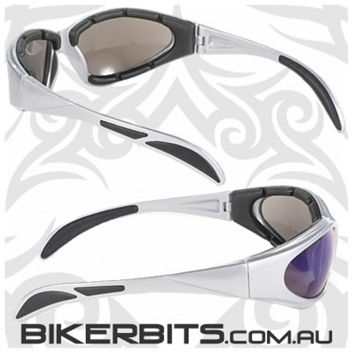 Motorcycle Sunglasses - Chopper - Blue Mirror/Silver Frame