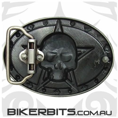 Belt Buckle - Skull Star - Red