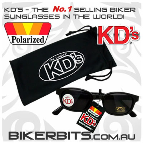 Motorcycle Sunglasses - KD's Black - Grey Polarized