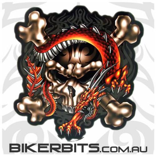Biker Decal - Dragon Skull - Large