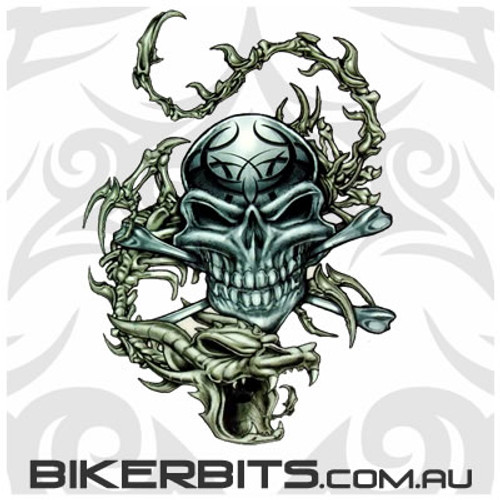 Biker Decal - Skull & Dragon