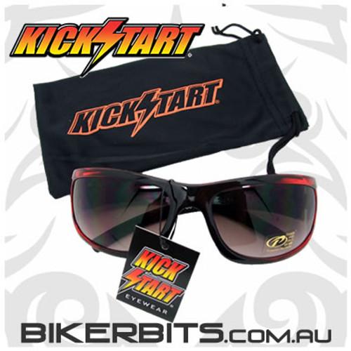 Motorcycle Sunglasses - Blackbird - Red/Black - Smoke Lens