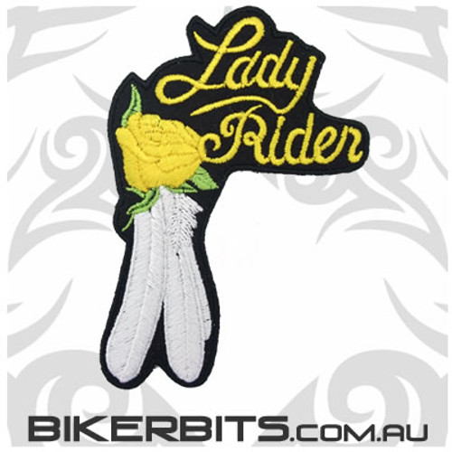 Patch - Lady Rider with Rose & Feather - Yellow