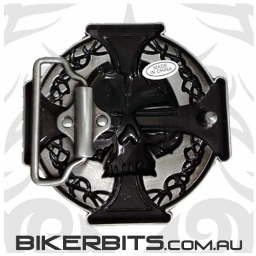 Belt Buckle - Skull & Iron Cross