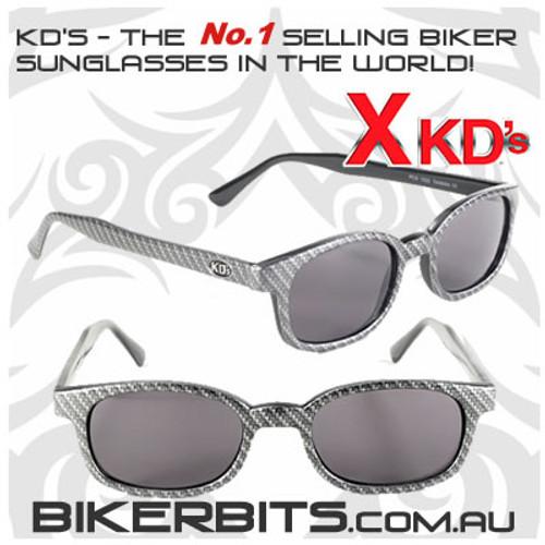 Motorcycle Sunglasses - X KD's Carbon Fiber - Smoke