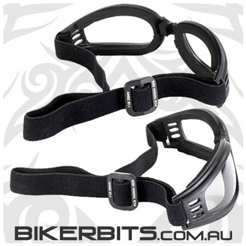 Motorcycle Goggles - Kickstart Nomad - Clear/Black