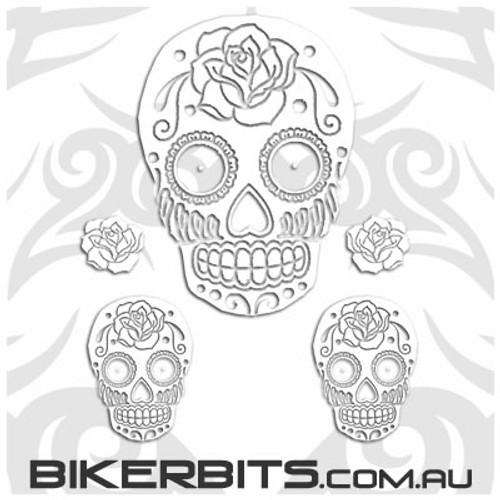 Biker Decal - White Sugar Skulls