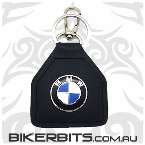 Keyring - Round BMW Logo Leather Key Fob