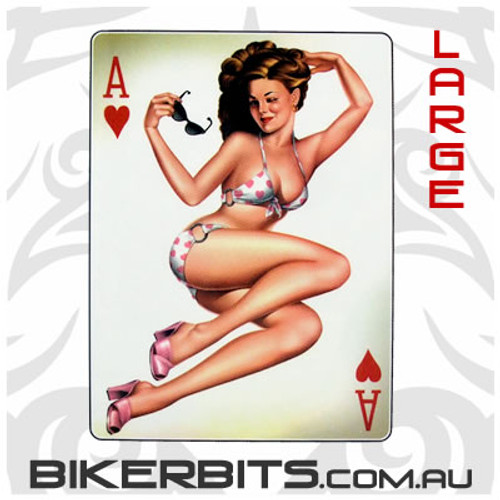 Biker Decal - Ace Of Hearts Pin-up - Large