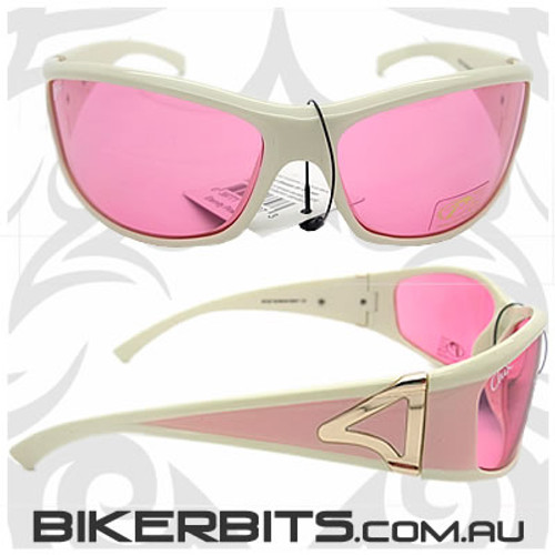 Motorcycle Sunglasses - Chix Eternity Pink/Cream, Pink Lens