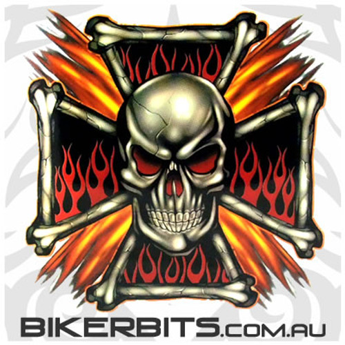 Biker Decal - Flame Cross Skull