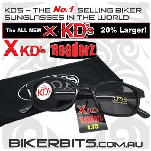 Motorcycle Sunglasses - X KD's Readerz - Smoke - 1.75