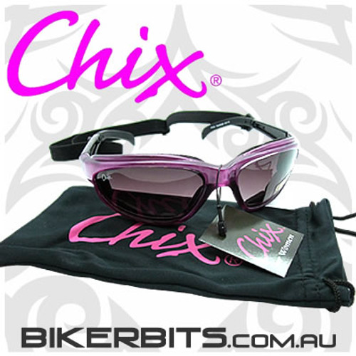 Motorcycle Sunglasses - Chix - Freedom Purple with Grey Fade Len