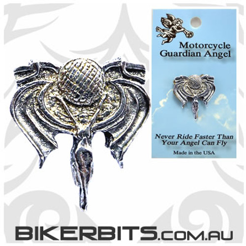 Lapel Pin - Angel With Motorcycle Handle Bars