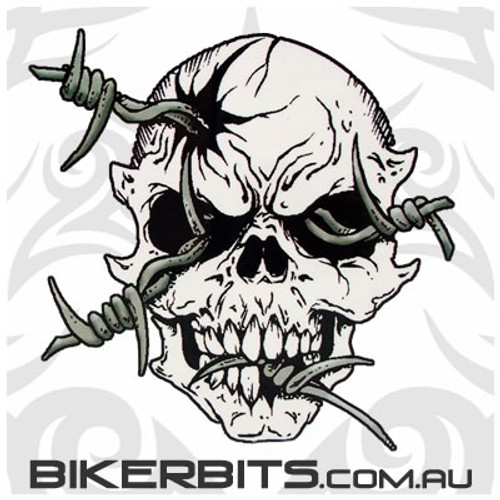Biker Decal - Aftermath - Barbed Wire Skull