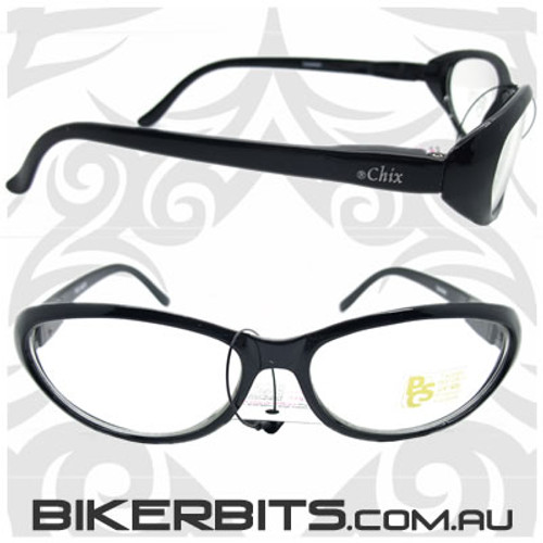 Motorcycle Sunglasses - Chix Mistique - Clear/Black