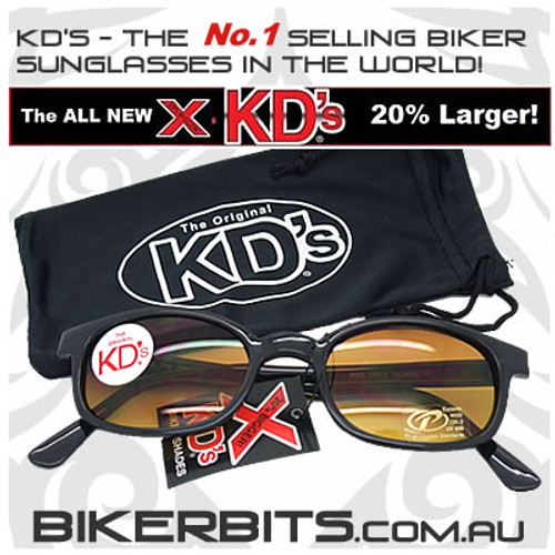 Motorcycle Sunglasses - X KD's Black - Blue Buster Amber