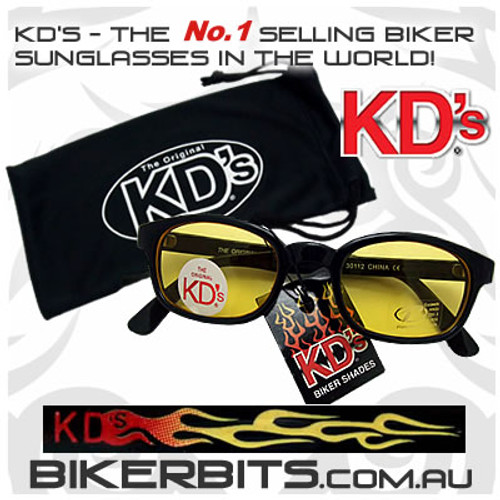 Motorcycle Sunglasses - KD's Flame - Yellow