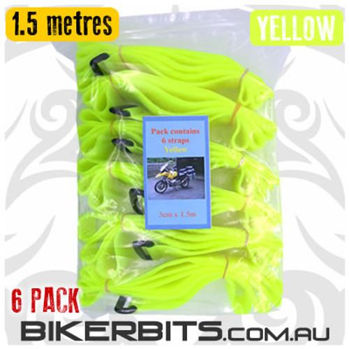 Gotcha Straps - 5cm wide x 1.5 metres long - 6 Pack- Yellow