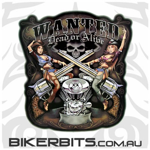 Biker Decal - Wanted Dead or Alive