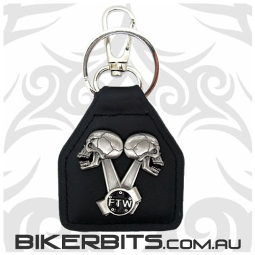Keyring - FTW Skulls V-Twin Leather Key Fob