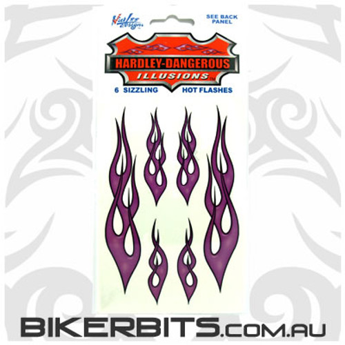 Biker Decal - Hot Rod Flames - Purple