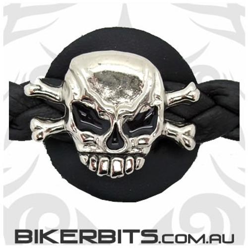 Vest Extender - Braided Leather - Skull & Crossbones