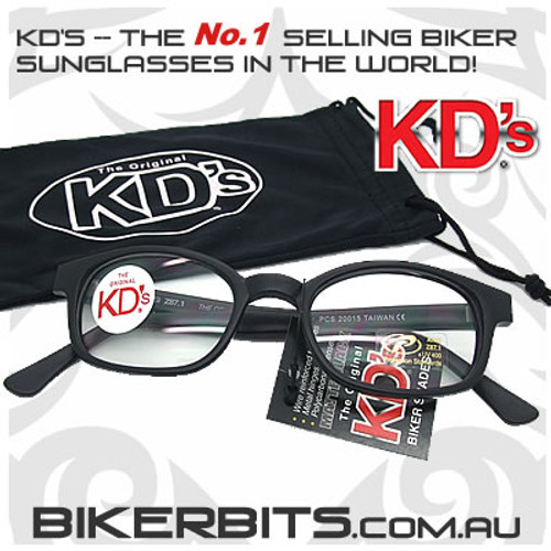 Motorcycle Sunglasses - KD's Matte Black - Clear