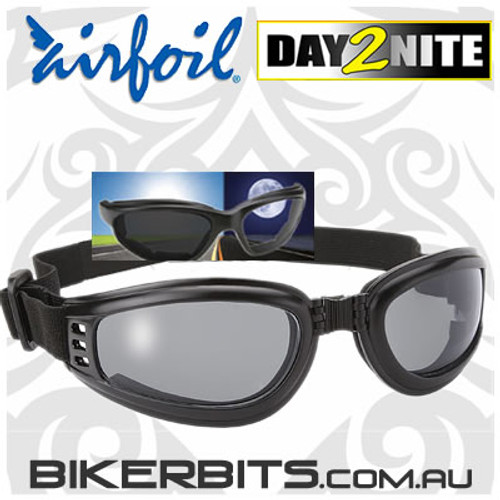 Motorcycle Sunglasses - Airfoils - 4511 Nomad - Day2Nite/Black