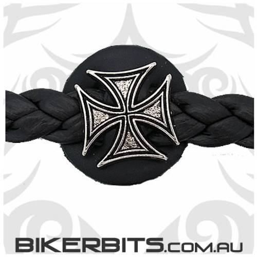 Vest Extender - Braided Leather - Iron Cross