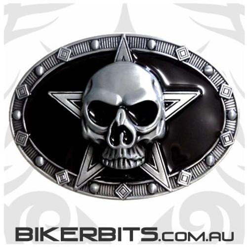 Belt Buckle - Skull Star - Black