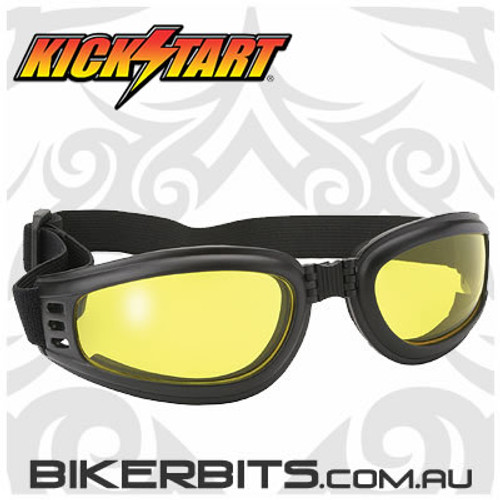 Motorcycle Goggles - Kickstart Nomad - Yellow/Black