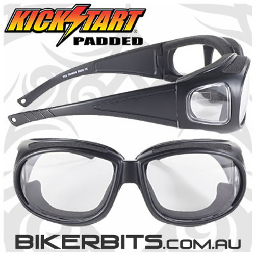 Motorcycle Sunglasses - Defender - 5505 -  Clear/Black
