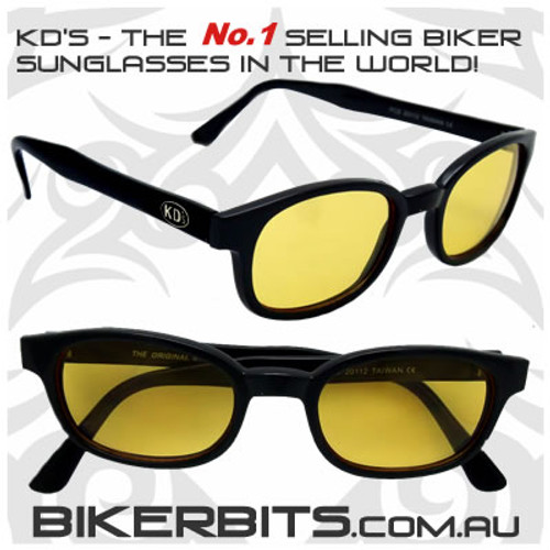Motorcycle Sunglasses - KD's Black - Yellow